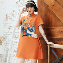 cheongsam Summer 2020 S M L Short sleeve Short cheongsam Retro No slits daily Oblique lapel Animal design 18-25 years old Piping Yijiahong polyester fiber Polyester 100% Pure e-commerce (online only)