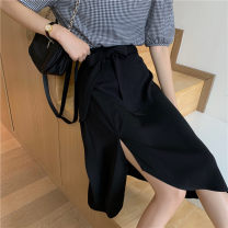 skirt Summer 2020 M,L,XL,2XL,3XL,4XL black Mid length dress Versatile High waist Irregular Solid color Type A 51% (inclusive) - 70% (inclusive) other Other / other nylon bow