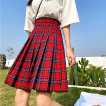 skirt Summer 2020 M,L,XL,2XL,3XL,4XL gules Middle-skirt Versatile High waist Pleated skirt lattice Type A 31% (inclusive) - 50% (inclusive) other Other / other Cellulose acetate fold