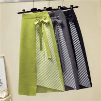 skirt Autumn of 2019 One size fits all, add the collection to the shopping cart and give priority to delivery Black, grey, Avocado Green Mid length dress commute High waist Irregular Type A 81% (inclusive) - 90% (inclusive) Asymmetry, splicing Korean version