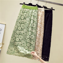 skirt Winter of 2019 One size fits all, one size fits all collection plus purchase priority delivery Apricot, black, Avocado Green Mid length dress Versatile High waist A-line skirt Type A Lace
