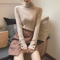 Wool knitwear Autumn 2020 Average size Long sleeves singleton  Socket other 30% and below Thin money commute Self cultivation High collar routine Solid color Socket Simplicity 18-24 years old Other / other
