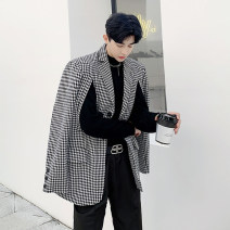 man 's suit Black and white Others Youth fashion thick M,L,XL Polyethylene terephthalate (PET) 90% other 10% easy Double breasted Other leisure Back middle slit teenagers Long sleeves spring routine Basic public Casual clothes Flat lapel Straight hem lattice Narrow collar (below 7cm) 2020