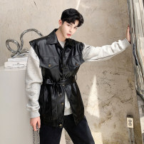 Vest / vest Youth fashion Others Average size black Other leisure easy Leather Vest Four seasons Lapel youth 2019 Digging bags with lids