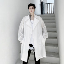 Windbreaker white Others Youth fashion Average size Single breasted Medium length easy Other leisure Four seasons youth Lapel like a breath of fresh air Solid color Thread embedding and bag digging