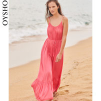 Dress Autumn 2020 Watermelon red XS S M L longuette commute Solid color 25-29 years old oysho 30763115146-27 More than 95% polyester fiber Polyester 100% Same model in shopping mall (sold online and offline)