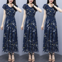 Dress Summer 2021 Daffodils on a blue background M [recommended 80-100 kg], l [recommended 100-115 kg], XL [recommended 115-130 kg], 2XL [recommended 130-145 kg], 3XL [recommended 145-160 kg] longuette singleton  Short sleeve commute V-neck High waist Broken flowers other A-line skirt routine Others