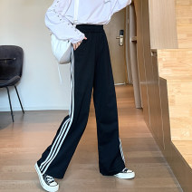 Casual pants Gray, black S,M,L,XL,2XL,3XL,4XL Spring 2021 trousers Wide leg pants High waist Versatile routine 96% and above polyester fiber polyester fiber