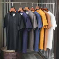 T-shirt Youth fashion 21bhb-mk2116 white, 21bhb-mk2116 sapphire blue, 21bhb-mk2116 black, 21bhb-mk2116 yellow, 21bhb-mk2116 gray, 21bhb-mk2116 brown, 21bhb-mk2116 dark blue routine S,M,L,XL,2XL Huasachi Short sleeve Crew neck standard daily summer Cotton 100% youth routine Basic public Sweat cloth