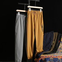 Casual pants Huasachi Fashion City 21bhb-hyl0002 gray, 21bhb-hyl0002 black, 21bhb-hyl0002 Navy, 21bhb-hyl0002 yellow, 21bhb-hyl0002 army green M,L,XL,2XL routine trousers Other leisure Straight cylinder Micro bomb summer youth tide 2021 middle-waisted Little feet Sports pants Solid color