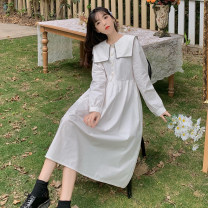 Dress Spring 2021 Average size Mid length dress singleton  Long sleeves Sweet Admiral middle-waisted Solid color Single breasted A-line skirt routine 18-24 years old Type A Frenulum 31% (inclusive) - 50% (inclusive) cotton college