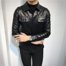 leather clothing ITbuy+ Fashion City Black 003, dark black (plush) 003 M,L,XL,2XL,3XL have cash less than that is registered in the accounts Leather clothes Lapel Slim fit Single breasted winter leisure time youth Cloth hem Three dimensional bag Multiple pockets