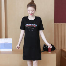 Dress Summer 2021 Blue, black S,M,L,XL,2XL,3XL Mid length dress singleton  Short sleeve commute Crew neck Loose waist letter Socket A-line skirt routine Others 25-29 years old Type H Korean version Pocket, lace up, stitching, three-dimensional decoration, printing, 3D other cotton
