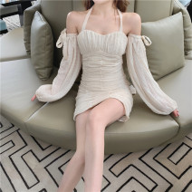 Dress Summer 2020 Apricot S, M Short skirt singleton  Sweet Solid color Socket One pace skirt puff sleeve Hanging neck style Bow, open back, lace up Ruili