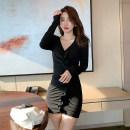 Dress Autumn 2020 black S,M,L,XL Short skirt singleton  Long sleeves commute V-neck Solid color One pace skirt routine Retro