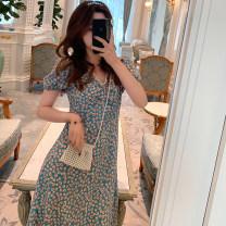 Dress Summer 2020 Picture color S,M,L,XL Mid length dress singleton  Short sleeve commute V-neck High waist Decor zipper A-line skirt Wrap sleeves Others Type A Retro Print, zipper