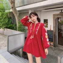 Dress Autumn of 2019 Red, white Average size Middle-skirt singleton  Long sleeves V-neck Loose waist Solid color Socket Princess Dress bishop sleeve Others Fringes, embroidery, folds