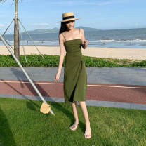 Dress Summer of 2019 green S,M,L,XL Miniskirt singleton  Sleeveless commute One word collar High waist Solid color zipper other camisole 18-24 years old Type A Retro zipper 51% (inclusive) - 70% (inclusive) other