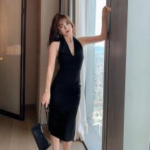 Dress Autumn 2020 black S,M,L,XL Mid length dress singleton  Sleeveless commute V-neck High waist Solid color zipper One pace skirt Hanging neck style Type H Retro zipper