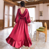 Dress Spring of 2019 claret S,M,L,XL Mid length dress singleton  Long sleeves Sweet V-neck High waist Solid color Socket Irregular skirt bishop sleeve Others 18-24 years old Type A Bohemia