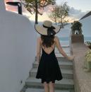 Dress Summer 2020 black S,M,L,XL Short skirt singleton  Sleeveless Sweet V-neck High waist Solid color Socket other camisole Type A Ruffle, open back, zipper Bohemia