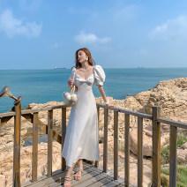 Dress Autumn 2020 White - send cream S,M,L,XL Mid length dress singleton  Short sleeve commute square neck Solid color zipper Big swing puff sleeve