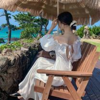 Dress Summer of 2019 white S,M,L longuette singleton  commute One word collar High waist Solid color zipper Big swing Lotus leaf sleeve Retro Open back, lace up, bandage, zipper