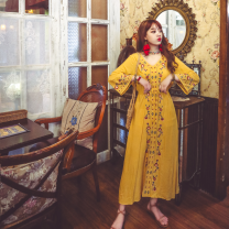 Dress Autumn 2020 White, blue, yellow S,M,L,XL longuette singleton  Nine point sleeve Sweet V-neck Big swing pagoda sleeve Embroidery Bohemia
