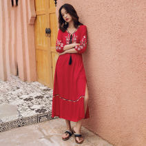 Dress Autumn of 2019 gules S,M,L,XL Mid length dress singleton  three quarter sleeve commute V-neck High waist Abstract pattern Socket A-line skirt routine Others 25-29 years old Type A Other / other ethnic style 31% (inclusive) - 50% (inclusive) other cotton