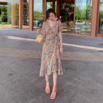 Dress Autumn 2020 Picture color S,M,L,XL Mid length dress singleton  Short sleeve commute V-neck Decor routine Print, lace up