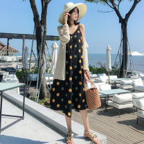 Dress Winter of 2018 Suspender skirt, shawl, suit (suspender skirt + shawl) S,M,L,XL,2XL Mid length dress singleton  Sleeveless commute V-neck High waist Dot Socket Irregular skirt camisole 25-29 years old Type A Retro 71% (inclusive) - 80% (inclusive) Chiffon other
