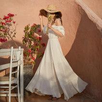 Dress Spring 2020 white S,M,L,XL longuette singleton  Sweet One word collar Elastic waist Dot Ruffle Skirt bishop sleeve camisole Ruffle, flocking, pleating, lace up Chiffon polyester fiber Bohemia