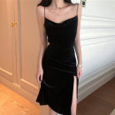 Dress Autumn 2020 It's a little bit of black, a little bit of green, a little bit of black S,M,L,XL Mid length dress singleton  Sleeveless Pile collar middle-waisted Solid color Socket camisole 25-29 years old Velvet fabric other