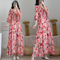 Women's large Summer 2020 Pink Big XL [recommended 100-120 kg], big 2XL [recommended 120-140 kg], big 3XL [recommended 140-160 kg], big 4XL [recommended 160-180 kg], big 5XL [recommended 180-200 kg] Dress singleton  commute Self cultivation thin Cardigan three quarter sleeve Korean version V-neck