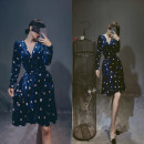 Women's large Autumn of 2019 Blue, dawn red Large XL, large 2XL, large 3XL, large 4XL Dress singleton  commute Self cultivation thick Cardigan Long sleeves Dot, solid Korean version V-neck Medium length other Three dimensional cutting Bandage Medium length