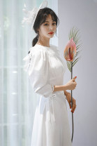 Dress Spring 2021 white S M L XL Mid length dress singleton  three quarter sleeve Sweet Crew neck middle-waisted Solid color zipper A-line skirt 18-24 years old Type A Elegant appreciation Lace More than 95% other New polyester fiber 100% Pure e-commerce (online only)