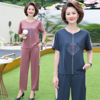 Middle aged and old women's wear Summer 2021 Blue, leather powder XL suggests 90-105 kg, 2XL 105-120 kg, 3XL 120-135 kg, 4XL 135-150 kg, 5XL 150-160 kg leisure time suit easy Two piece set Solid color 40-49 years old Socket thin Crew neck routine routine pocket polyester Ninth pants Medium length