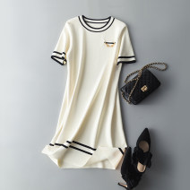 Dress Spring 2021 Off white, black M, L Short sleeve Crew neck Socket routine