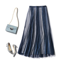 skirt Spring 2020 Average size Coffee gradient, gray gradient, black gradient, blue gradient Mid length dress gorgeous Natural waist Type H