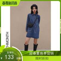 Dress Spring 2021 blue S,M,L singleton  Long sleeves commute Polo collar middle-waisted Solid color Socket A-line skirt routine Others 18-24 years old Type H Other / other Simplicity pocket Y0009 Denim cotton