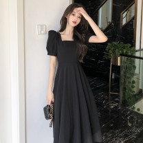 Dress Summer 2021 Black is a yard bigger XS,S,M,L,XL,2XL longuette singleton  Long sleeves commute square neck High waist Solid color Socket A-line skirt puff sleeve Others 18-24 years old Type A Korean version Bows, open backs, bandages 81% (inclusive) - 90% (inclusive)