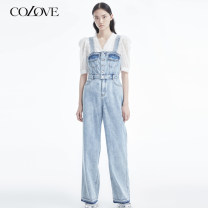 Jeans Spring 2021 Denim blue XS S M L XL 2XL trousers High waist Straight pants routine 25-29 years old Cotton elastic denim 211T329 Color / calaver 71% (inclusive) - 80% (inclusive) Cotton 76.6% polyester 23.4% Same model in shopping mall (sold online and offline)