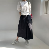 skirt Summer 2020 S,M,L Black, Khaki Mid length dress Versatile Natural waist Irregular Solid color Type A 30-34 years old 51% (inclusive) - 70% (inclusive) other With nylon 101g / m ^ 2 (including) - 120g / m ^ 2 (including)