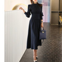 Dress Spring of 2019 Navy Blue S,M,L,XL longuette singleton  Long sleeves commute stand collar High waist Solid color zipper Big swing puff sleeve Others Type H Other / other Ol style Pleating, stitching, zipper other