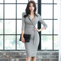 Dress Autumn of 2019 houndstooth  S,M,L,XL Miniskirt singleton  three quarter sleeve tailored collar High waist houndstooth  Pencil skirt routine 25-29 years old Type H Other / other