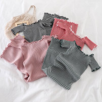 Dress Summer of 2019 Average size Short skirt singleton  Short sleeve commute other High waist stripe Socket A-line skirt other Others 18-24 years old Type A Other / other Korean version 51% (inclusive) - 70% (inclusive) knitting other