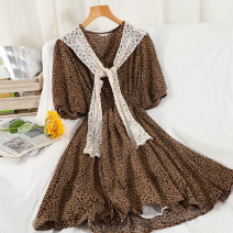 Dress Summer 2021 Black, grey, apricot, coffee Average size Short skirt singleton  Short sleeve commute V-neck High waist Dot Socket A-line skirt routine 18-24 years old Type A Korean version Splicing 51% (inclusive) - 70% (inclusive) Chiffon other