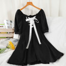 Dress Summer 2021 Black, white Average size Short skirt singleton  Short sleeve commute square neck High waist other Socket A-line skirt routine Others 18-24 years old Type A Korean version 51% (inclusive) - 70% (inclusive) other polyester fiber