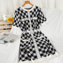 Dress Spring 2021 black Average size Mid length dress singleton  Short sleeve commute Crew neck High waist lattice Socket A-line skirt routine Others 18-24 years old Type A Korean version printing 51% (inclusive) - 70% (inclusive) knitting acrylic fibres