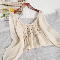 shirt Apricot, white Average size Winter 2020 other 51% (inclusive) - 70% (inclusive) Long sleeves commute Short style (40cm < length ≤ 50cm) Crew neck Socket puff sleeve Solid color 18-24 years old Self cultivation Korean version Splicing